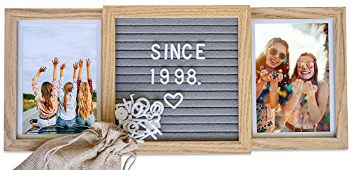 Picture Frame with Genuine Felt Letter Board (Standard, Natural Oak) Best Friends Frame - Custom 6x4 in. Personalized Two Picture Frame - MADE WITH GENUINE WOOD: designed with quality materials including a genuine wooden frame and backing, polished glass to preserve pictures, and genuine grey felt. EXHAUSTIVE CHARACTER SET: over 160 letters, emojis, & symbols included with a canvas bag for storage. Get creative! PERSONALIZE YOUR MEMORIES: customize a unique message, date, or quote to caption your favourite photos. - picture-frames, bedroom-decor, bedroom - 410%2BXqOHReL -