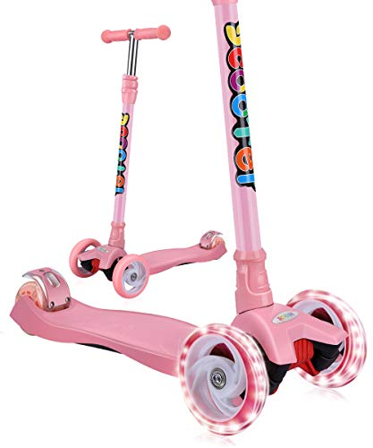 OUTON Kick Scooter for Kids 3 Wheel Lean to Steer Adjustable Height PU 4 LED Flasing Wheels Pink ()