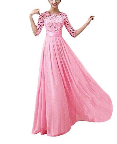 Femme d'honneur Dentelle Demoiselle Chiffon Fille Robe Mariage Ghope Longue Elgant Soire Rose Princesse Robe dXxBnwf