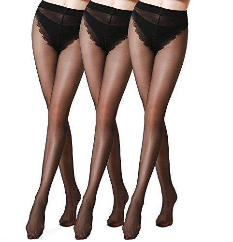 honenna ultra sheer control top tights bikini crotch panty hose 3 pack medium black apparel. Black Bedroom Furniture Sets. Home Design Ideas