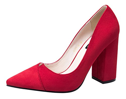 T&Mates Womens Elegant Classic Pointed Toe V Cut Block Chunky Heel Slip-on Low Cut Suede Pumps (7 (Adult Red Sequin Shoe Covers)
