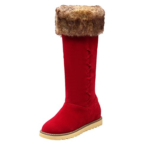 Womens Flats Faux Hair Weather Latasa Snow Tall Boots Cold Red Winter 1BZqwdxdt