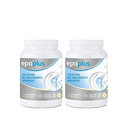 Epaplus Colágeno + Ácido Hialurónico y Magnesio Polvo Vainilla - Paquete de 2 x 332 gr