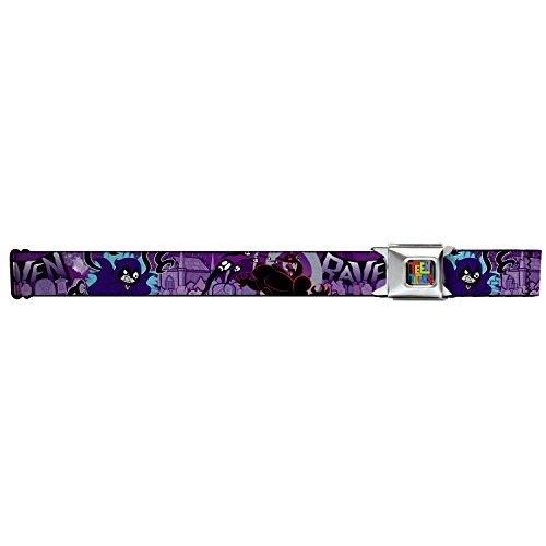 Buckle Down Big Boys Raven/trigon/ghosts Cemetery Poses Purples Seatbelt Belt, multi, (Raven Teen Titans Belt)