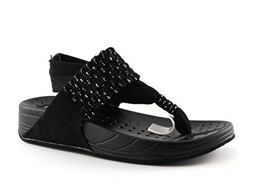 Pregunta Kahlua Chaussures Lanière Nero Sandale Noires Élastique Noire Femme Les Paillettes OqrdEwq