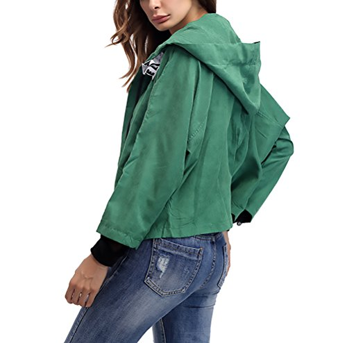 Con Colore Cappuccio Elegante Manica Giacca Giubbotto Sciolto Casual Donna Unico Zip Fashion Hippie Lunga Outerwear Autunno Cappotto Giacche Verde Vintage Puro qpFnwgO5w