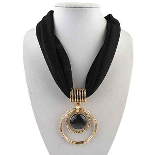 Sample9 Short Scarf Alloy Vintage Faux Crystal Hoops Pendant Collar Chain Necklace Soft (Black)