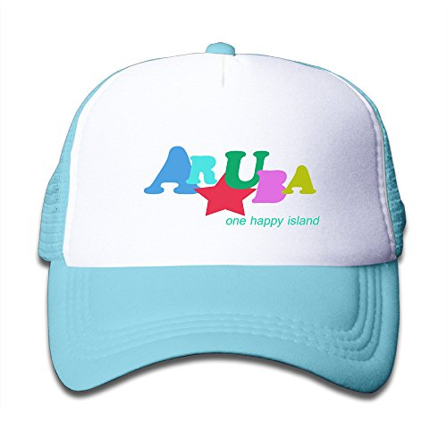 WH&SY Aruba Happy Island Typography Children Mesh Trucker Cap Adjustable Fashion Kids Mesh Snapback Hat Snapback Hat -