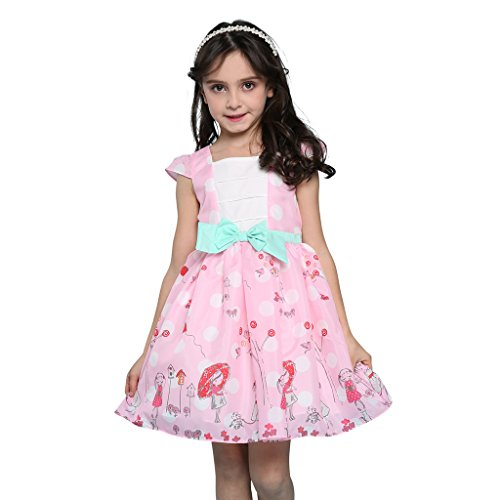 Sharequeen Pink Chiffon Baby Girls Printing Dress With Bowknot