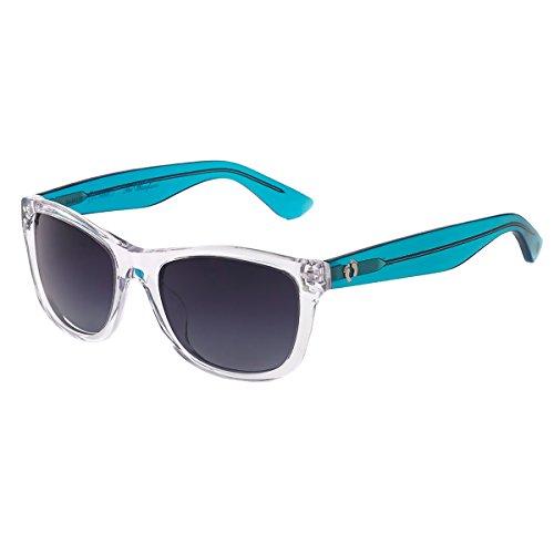 Hang Ten Gold Classic Wayfarer HTG1003 C1 Polarized Round Sunglasses, Clear Frame & Transparent Light Blue, 55 - C1 Round Blue