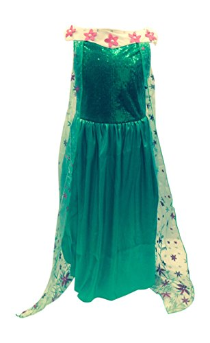 Frozen Costume S (New Elsa Frozen Fever Deluxe Full Length Gown Glittering Flower Cape (S 3/4))
