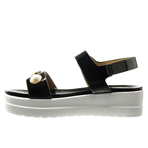 Angkorly - damen Schuhe Sandalen Mule - Plateauschuhe - Schmuck - String Tanga - glänzende Keilabsatz high heel 5 CM - Schwarz