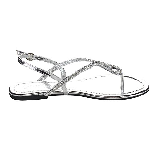Diviana Jalila-39 Womens Sling Back Thong Sandals Silver mCC7FlQY8