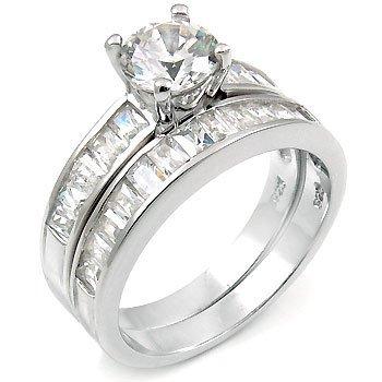 Sterling Silver Zirconia Wedding Engagement