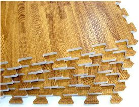 "We Sell Mats Wood Grain Interlocking Foam Anti Fatigue Flooring 2'x2'x3/8"" Tiles"
