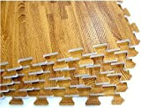 We Sell Mats Printed Wood Grain 2' x 2' 3/8' Interlocking Foam Floor...