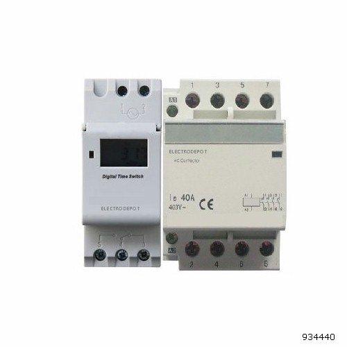 Pole Contactor Spa (Time Clock 7 Days, 24 Hrs Control 110VAC 120V 30a 4 pole contactor Timer 60A NO Normally Open Contactor DIN rail)