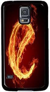 Samsung Galaxy S5 I9600 Cases, Samsung Galaxy S5 Case, Fire E, Case for Samsung Galaxy S5 I9600 -- Black Plastic Case