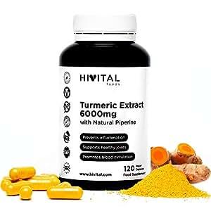 Cúrcuma 6000 mg, Extracto al 95% con Pimienta Negra | 120 cápsulas vegetales | Para mejorar la circulación sanguínea, la salud cardiovascular, ...