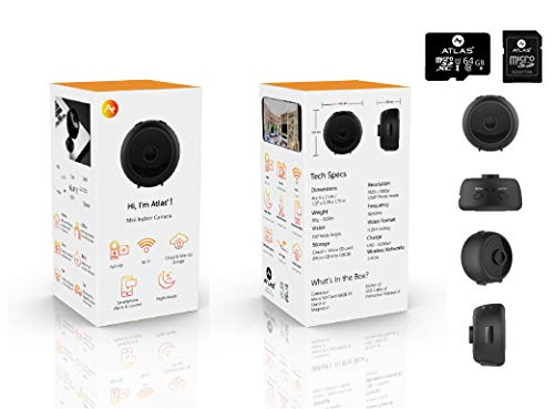 A1 by ATLAS+ Mini Hidden Camera – Wireless Full HD WiFi Spy Camera with 64GB SD Card + Reader – Smart Motion Detection, Night Vision Spy Camera, Push Notifications – Home Security Surveillance Camera