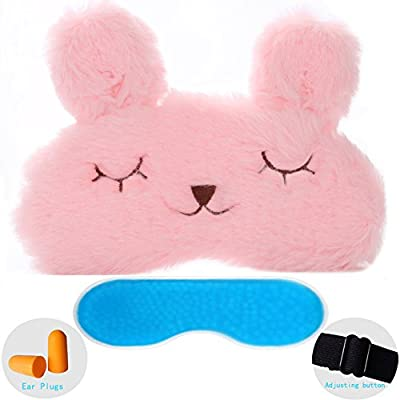 ZHICHEN Silk Eye Mask with Lovely 3D Cute Rabbit Face Soft Eye Bags Adjustable Sleeping Blindfold for Kids Girls Adult for Yoga Traveling Sleeping Party [Inclulding Ice Bag]