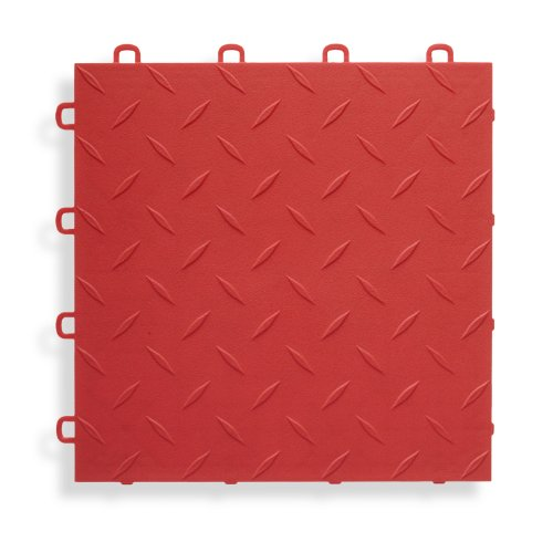 BlockTile B1US4327 Garage Flooring Interlocking Tiles Diamond Top Pack, Red, 27-Pack