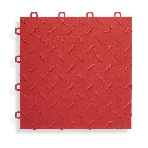 Tiles Diamond Top - BlockTile B1US4327 Garage Flooring Interlocking Tiles Diamond Top Pack, Red, 27-Pack