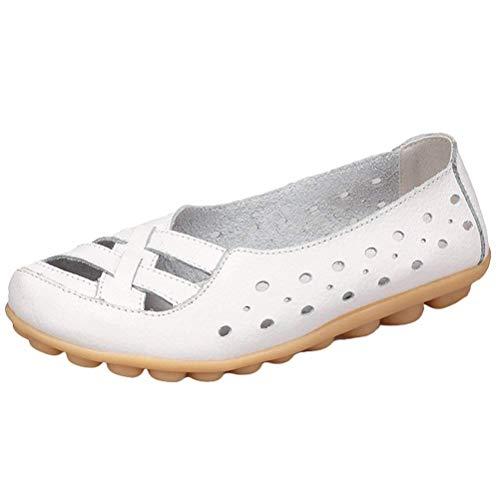 5 5 5 7 Nuovi White Colore Slip Mocassini Dimensione in in in Donna Pelle ZHRUI Flats Sandali da Style UK 2 ONS Mocassini 7 FUqwdT6