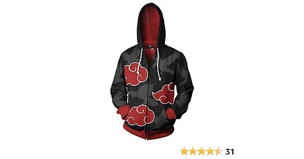 UU-Style Mens Naruto Akatsuki Cloud Long Sleeve Pullover Bomber Jacket Uchiha Itachi Cosplay Costume Hoodie Sweatshirt