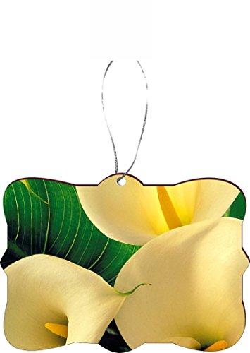 Rikki Knight RKWS-SQORN-9216 Christmas Tree Ornament/Car Rear View Mirror Hanger Yellow Calla Lilies Close-Up Design ()
