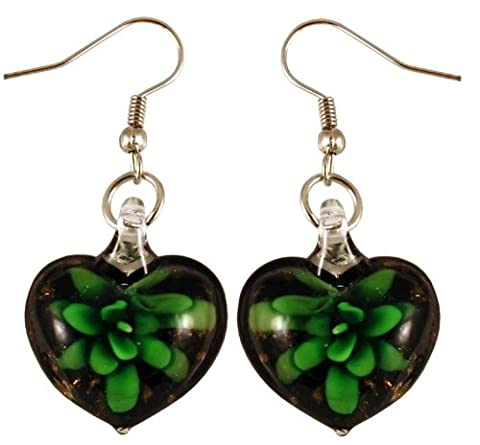 Murano-stlye Glass Black and Green Flower Heart Earrings - Green Murano Glass Pendant
