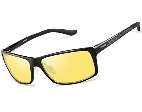 Polarized Sunglasses for Men Women - Outdoor Anti Glare Yellow Lens Black - Polarized Sunglasses Amber