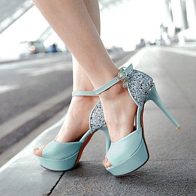 LFNLYX Sandalias mujer Primavera Verano Otoño otros PU Glitter Office & Carrera parte & Noche Casual Stiletto talón Sequin hebilla Blanca Rosa Azul Blue