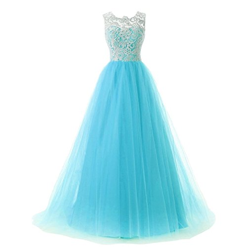 KAMA BRIDAL Women's Ball Gown Lace Bodice Tulle Prom Evening Dresses