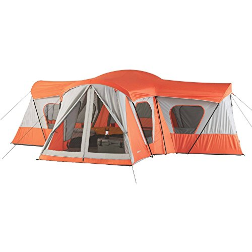 Price comparison product image Spacious, Sturdy Easy Care, Store And Transport Ozark Trail Base Camp 14-Person Cabin Tent, BRIGHT ORANGE