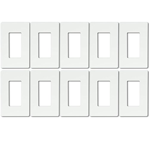 [Enerlites SI8831 Screwless Decorator/GFCI Wall Plate 1-Gang Standard Size Child Safe Cover Plate, White, 10 Pack] (Brass 3 Light Wall Bracket)