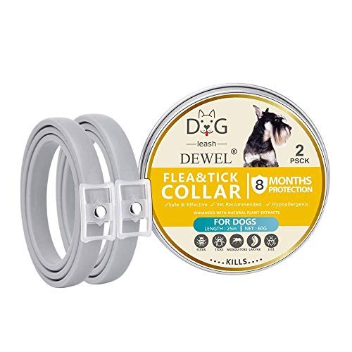 GAOLIQIN Flea and Tick Collar for Dogs, Set of 2 Waterproof Dog Anti Flea Collar with 25 Inch Length for Small Medium Large Dogs, 8 Months Protection - 2019 New Formula,Natural & Safe, Grey (Best Flea Protection For Dogs 2019)