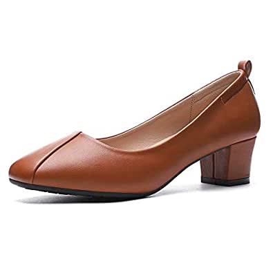 CINAK Women's Chunky Low Heels-Comfort Square Toe Pumps Wedding Dress Office Shoes Brown Size: 5-5.5