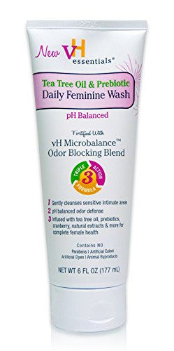vH essentials Intimate Feminine Wash - pH Balanced with Tea Tree Oil, Cranberry, Prebiotics, Lavender, and Chamomile- 6 Fluid Ounce