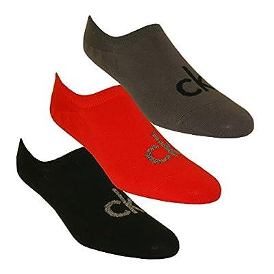 Calvin Klein 3-Pack Logo Liner Men's Socks, Red/Grey/Black