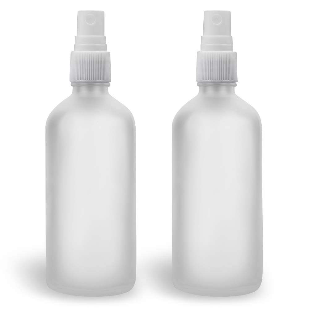 Glass Spray Bottles for Essential Oils, 4oz Small Fine Mist Spray Bottle, Frosted Clear, Empty, 2 Pack