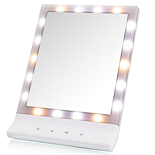 DeWEISN LED Lighted Makeup Mirror Lighted Vanity Makeup Mirror, Smart Touch Cosmetic Mirror Warm/Natural/Cool Lights (18 LED), Wall Mounted Make Up Mirror, Countertop Makeup Mirror by DeWEISN