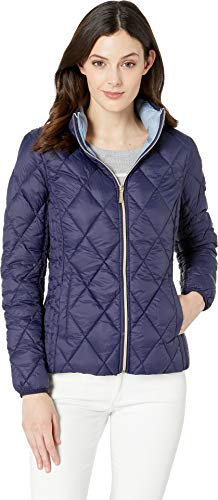 Michael Michael Kors Women's Quilted Nylon Packable Down Jacket M823965M True Navy Small (Mk Down Jacket For Women)