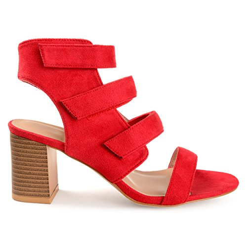 Brinley Co Womens Pavo Caged Faux Suede Cut-Out Heel Strappy Sandals Red Ab9MbbLW4