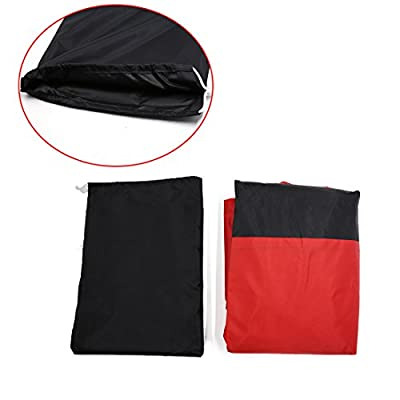 uxcell L 180T Rain Dust Motorcycle Cover Black+Red Outdoor UV Waterproof 86