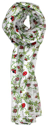 Ted and Jack - Spring Garden Helper Print Silk Feel Scarf in White Ladybug by Ted and Jack (Image #1)