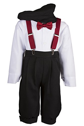 - Boys Black Knickers Set Pageboy Cap Apple Red Suspenders & Bow Tie (3 Toddler)