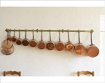 Diseño de cobre de varios tamaños para colgar sartenes en relieve de mujer con barra: Amazon.es: Hogar