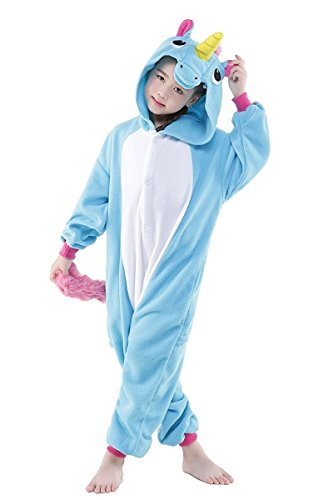 Kids Animal Onesies Unicorn Cosplay Costumes Onesie Halloween Sleepwear for Girls Boys Blue 5