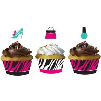 Pink Zebra Boutique Cupcake Wrappers, w/ Picks]()